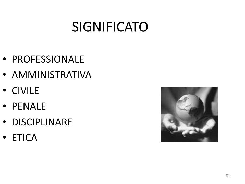 85 SIGNIFICATO PROFESSIONALE AMMINISTRATIVA CIVILE PENALE DISCIPLINARE ETICA