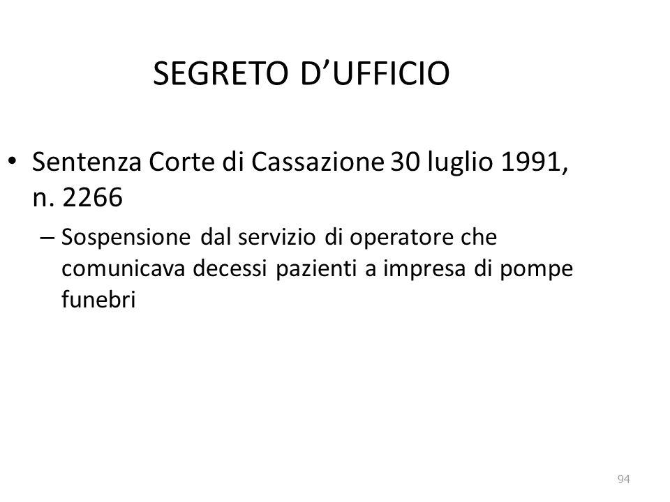 94 SEGRETO D'UFFICIO Sentenza Corte di Cassazione 30 luglio 1991, n. 2266 – Sospensione dal servizio di operatore che comunicava decessi pazienti a im