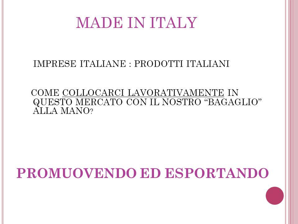 MADE IN ITALY IMPRESE ITALIANE : PRODOTTI ITALIANI COME COLLOCARCI LAVORATIVAMENTE IN QUESTO MERCATO CON IL NOSTRO BAGAGLIO ALLA MANO .
