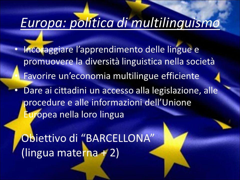 Europa: politica di multilinguismo Incoraggiare l'apprendimento delle lingue e promuovere la diversità linguistica nella società Favorire un'economia multilingue efficiente Dare ai cittadini un accesso alla legislazione, alle procedure e alle informazioni dell'Unione Europea nella loro lingua Obiettivo di BARCELLONA (lingua materna + 2)