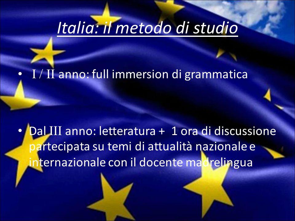 Italia: il metodo di studio I / II anno: full immersion di grammatica Dal III anno: letteratura + 1 ora di discussione partecipata su temi di attualità nazionale e internazionale con il docente madrelingua