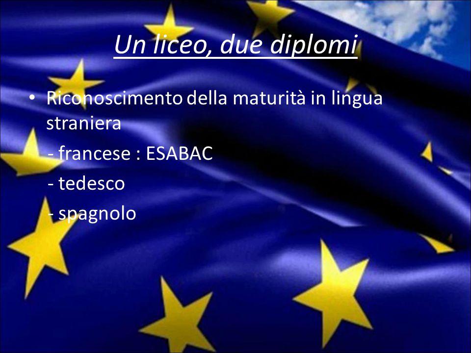 Un liceo, due diplomi Riconoscimento della maturità in lingua straniera - francese : ESABAC - tedesco - spagnolo