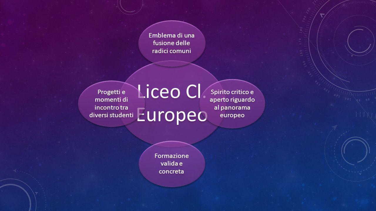 Liceo Cl. Europeo Emblema di una fusione delle radici comuni Spirito critico e aperto riguardo al panorama europeo Formazione valida e concreta Proget