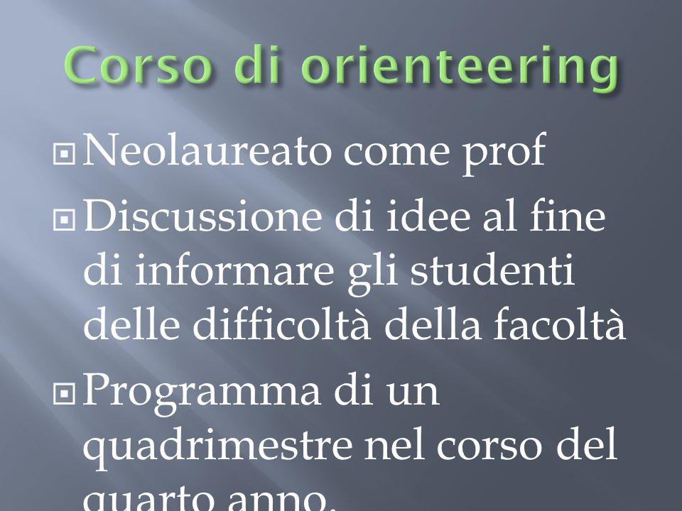  Neolaureato come prof  Discussione di idee al fine di informare gli studenti delle difficoltà della facoltà  Programma di un quadrimestre nel corso del quarto anno.