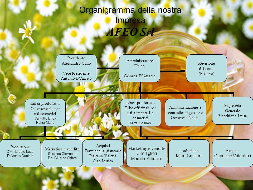 Amministratore Unico Gerarda D'Angelo Linea prodotto 1 Oli essenziali per usi cosmetici Valitutto Erica Parisi Maria Produzione D'Ambrosio Luca D'Amat