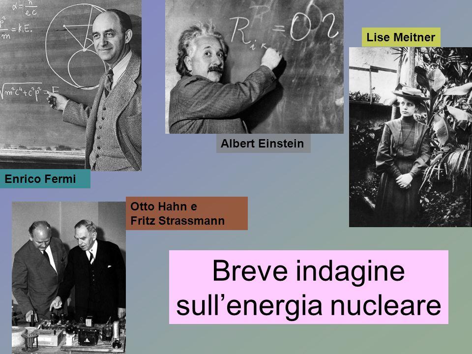 Breve indagine sull'energia nucleare Enrico Fermi Albert Einstein Lise Meitner Otto Hahn e Fritz Strassmann