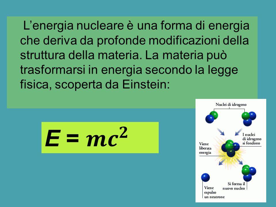 L'energia nucleare è una forma di energia che deriva da profonde modificazioni della struttura della materia. La materia può trasformarsi in energia s