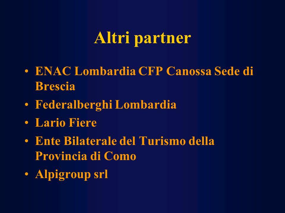 Altri partner ENAC Lombardia CFP Canossa Sede di Brescia Federalberghi Lombardia Lario Fiere Ente Bilaterale del Turismo della Provincia di Como Alpigroup srl