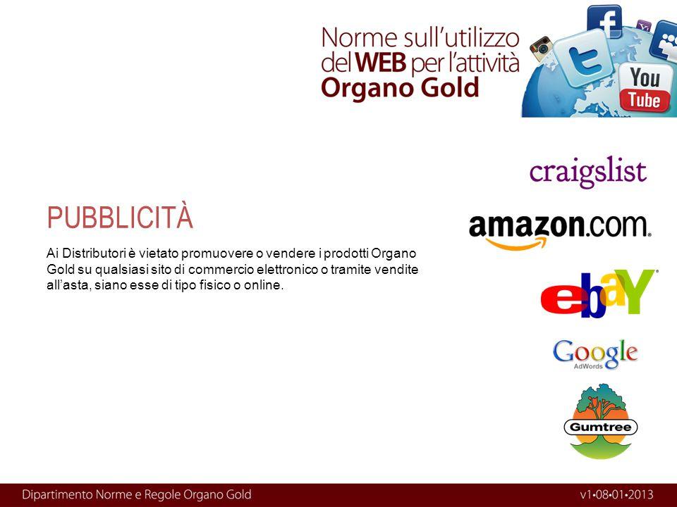 Ai Distributori è vietato promuovere o vendere i prodotti Organo Gold su qualsiasi sito di commercio elettronico o tramite vendite all'asta, siano ess