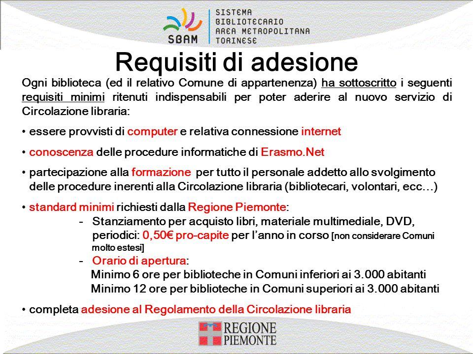Requisiti di adesione Ogni biblioteca (ed il relativo Comune di appartenenza) ha sottoscritto i seguenti requisiti minimi ritenuti indispensabili per