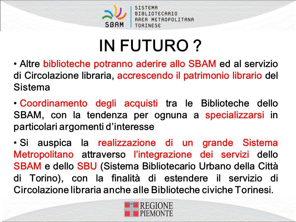Altre biblioteche potranno aderire allo SBAM ed al servizio di Circolazione libraria, accrescendo il patrimonio librario del Sistema Coordinamento deg