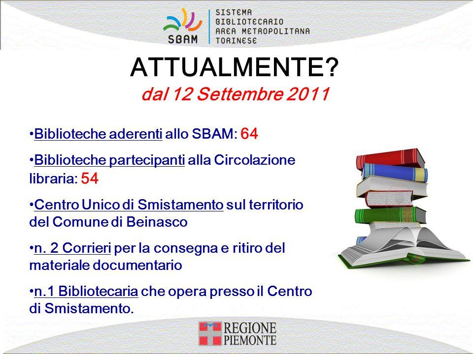 ATTUALMENTE? dal 12 Settembre 2011 Biblioteche aderenti allo SBAM: 64 Biblioteche partecipanti alla Circolazione libraria: 54 Centro Unico di Smistame