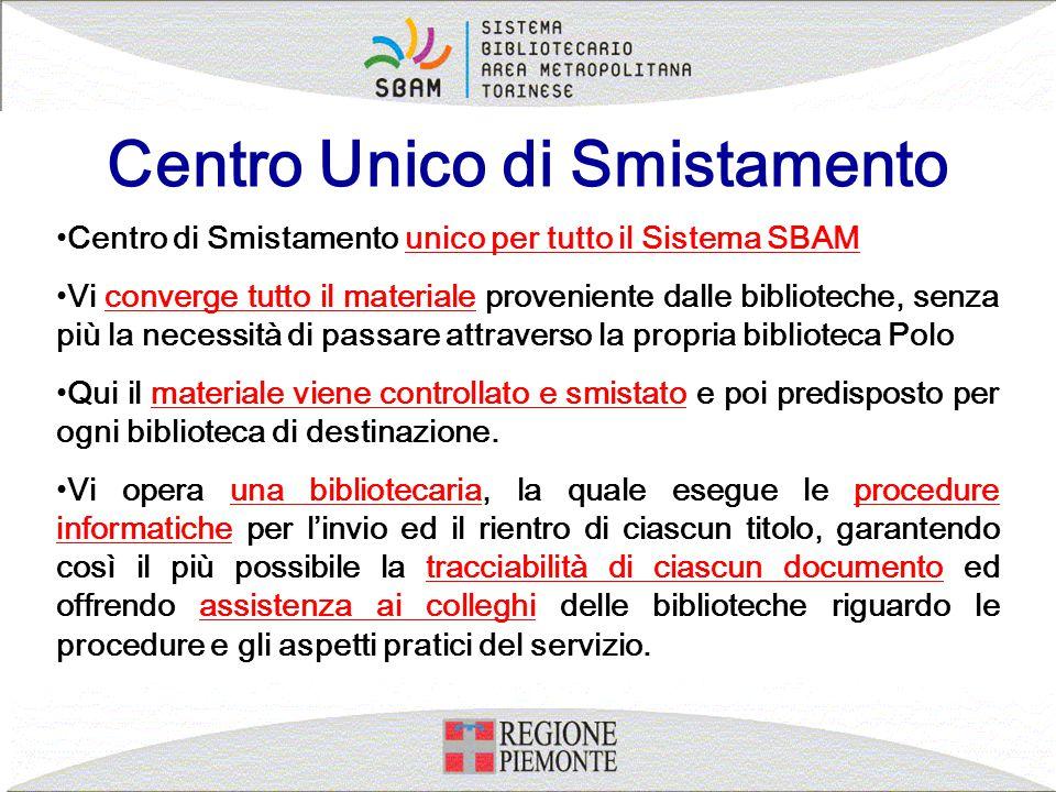 Centro Unico di Smistamento Centro di Smistamento unico per tutto il Sistema SBAM Vi converge tutto il materiale proveniente dalle biblioteche, senza