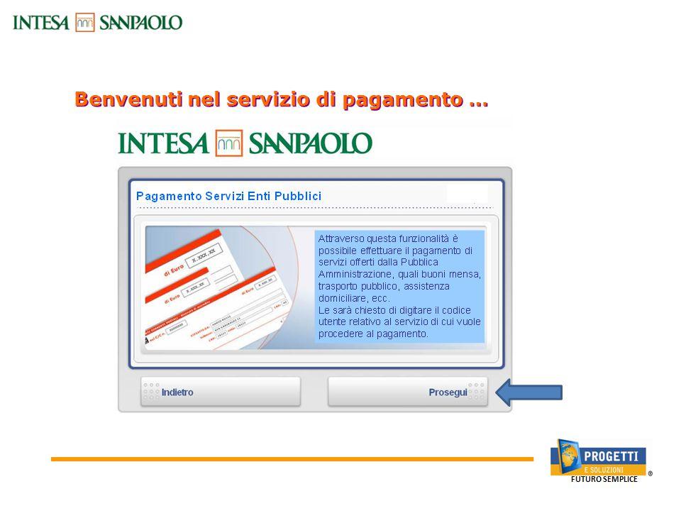 Benvenuti nel servizio di pagamento … Canali Bancari On-line: Sportello Bancomat