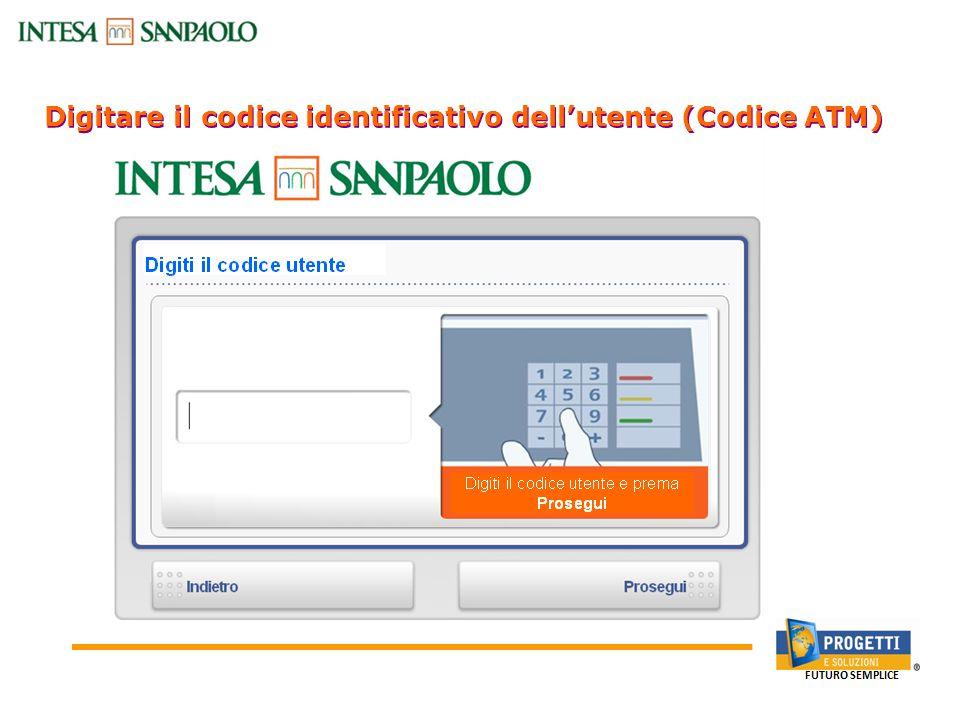 Digitare il codice identificativo dell'utente (Codice ATM) Canali Bancari On-line: Sportello Bancomat