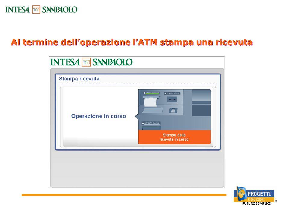 Al termine dell'operazione l'ATM stampa una ricevuta Canali Bancari On-line: Sportello Bancomat
