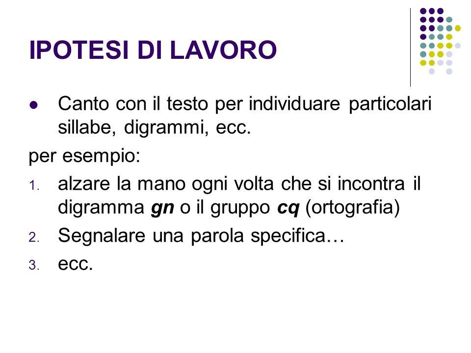 IPOTESI DI LAVORO Canto con il testo per individuare particolari sillabe, digrammi, ecc.