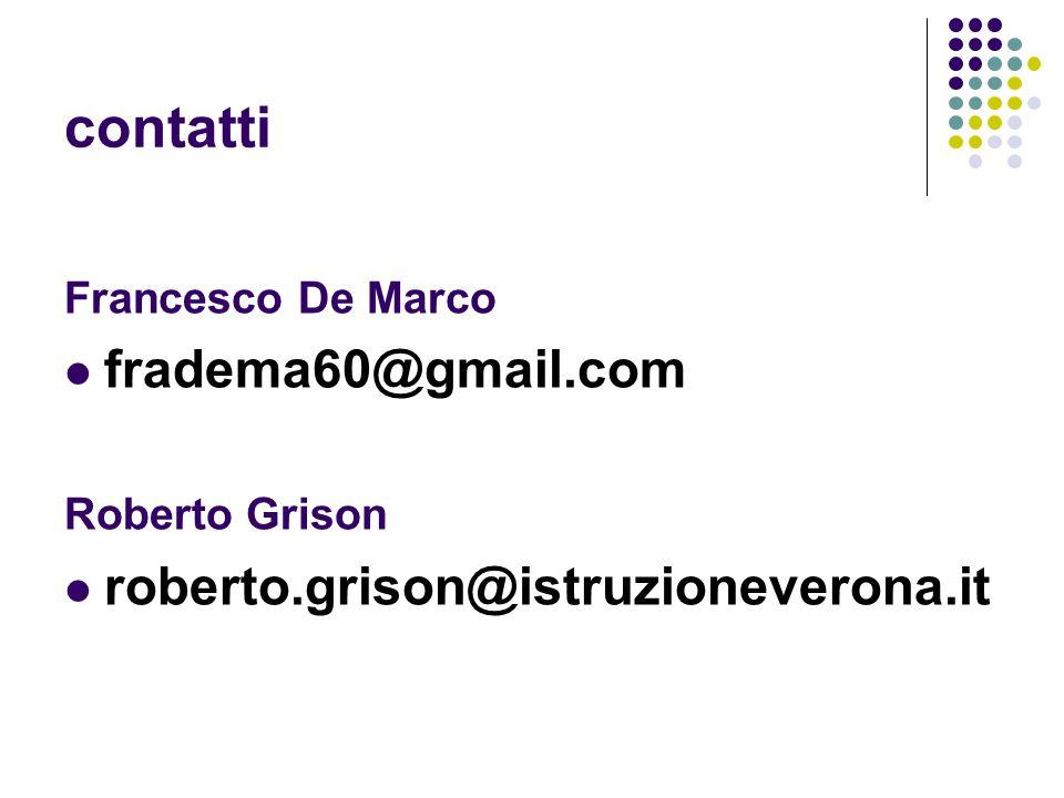 contatti Francesco De Marco fradema60@gmail.com Roberto Grison roberto.grison@istruzioneverona.it