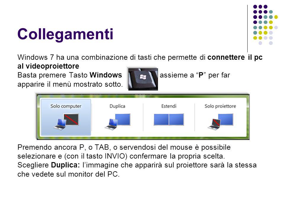 Collegamenti Windows 7 ha una combinazione di tasti che permette di connettere il pc al videoproiettore Basta premere Tasto Windows assieme a P per far apparire il menù mostrato sotto.