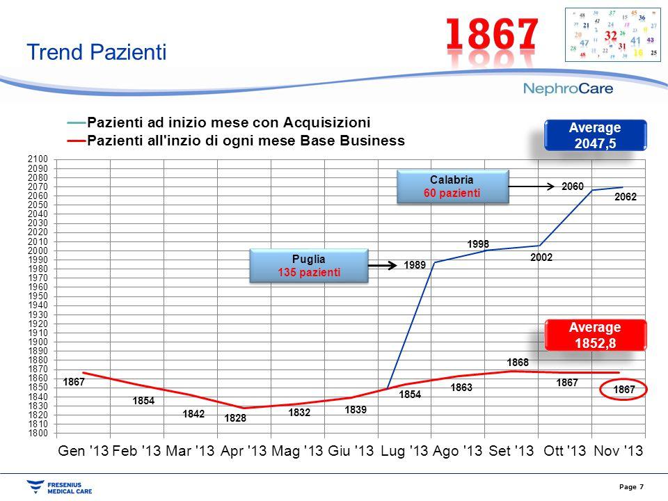 Trend Pazienti Page 7 Puglia 135 pazienti Puglia 135 pazienti Calabria 60 pazienti Calabria 60 pazienti 1989 1998 2002 2062 2060 Average 1852,8 Averag