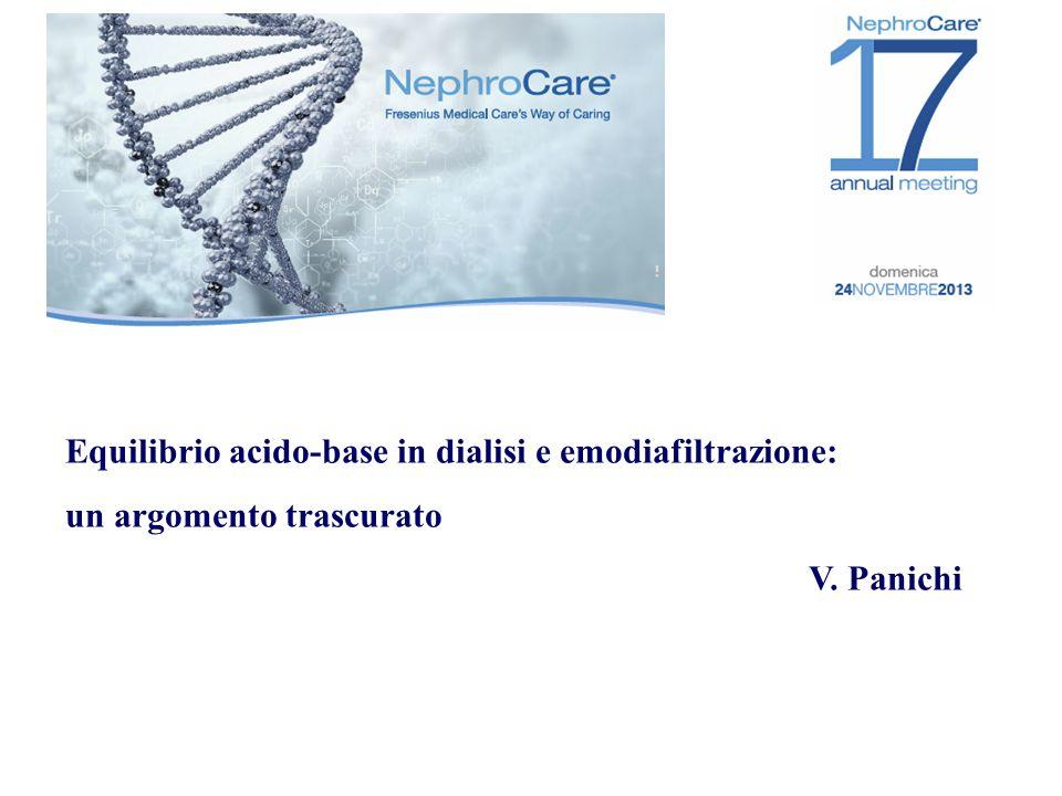 Equilibrio acido-base in dialisi e emodiafiltrazione: un argomento trascurato V. Panichi