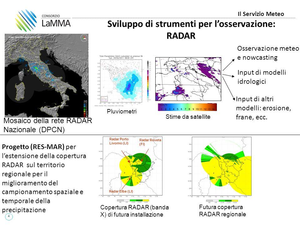 4 Il Servizio Meteo Sviluppo di strumenti per l'osservazione: RADAR Copertura RADAR (banda X) di futura installazione Futura copertura RADAR regionale