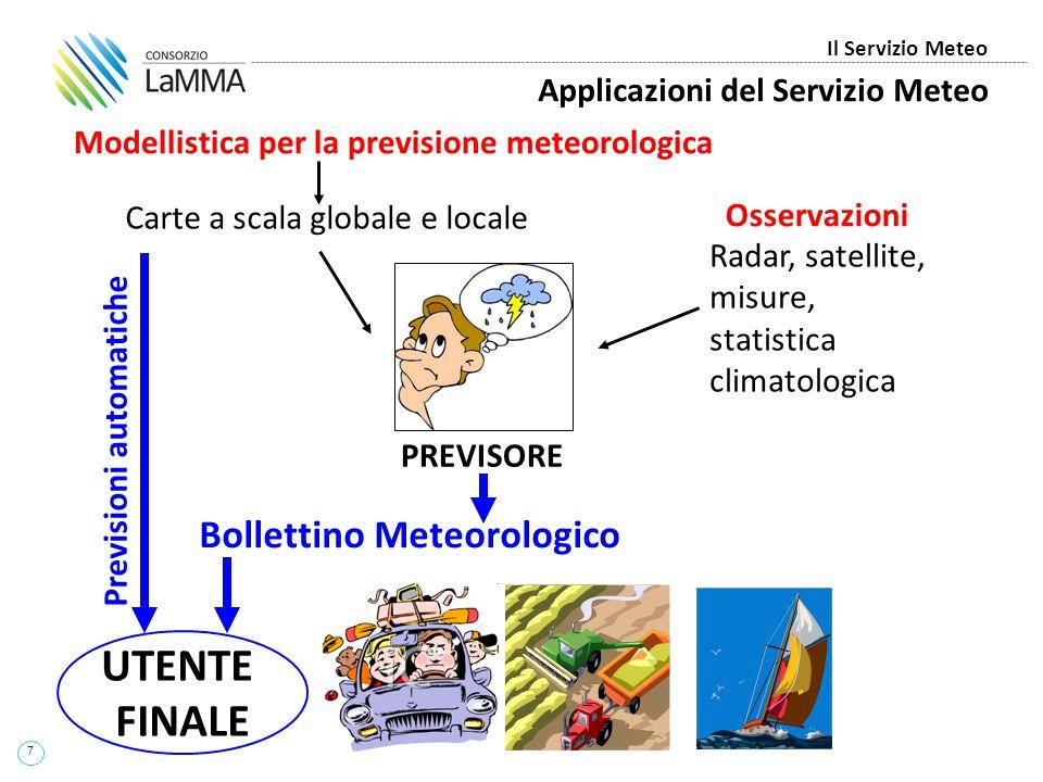 7 Il Servizio Meteo Applicazioni del Servizio Meteo Modellistica per la previsione meteorologica Carte a scala globale e locale Radar, satellite, misu