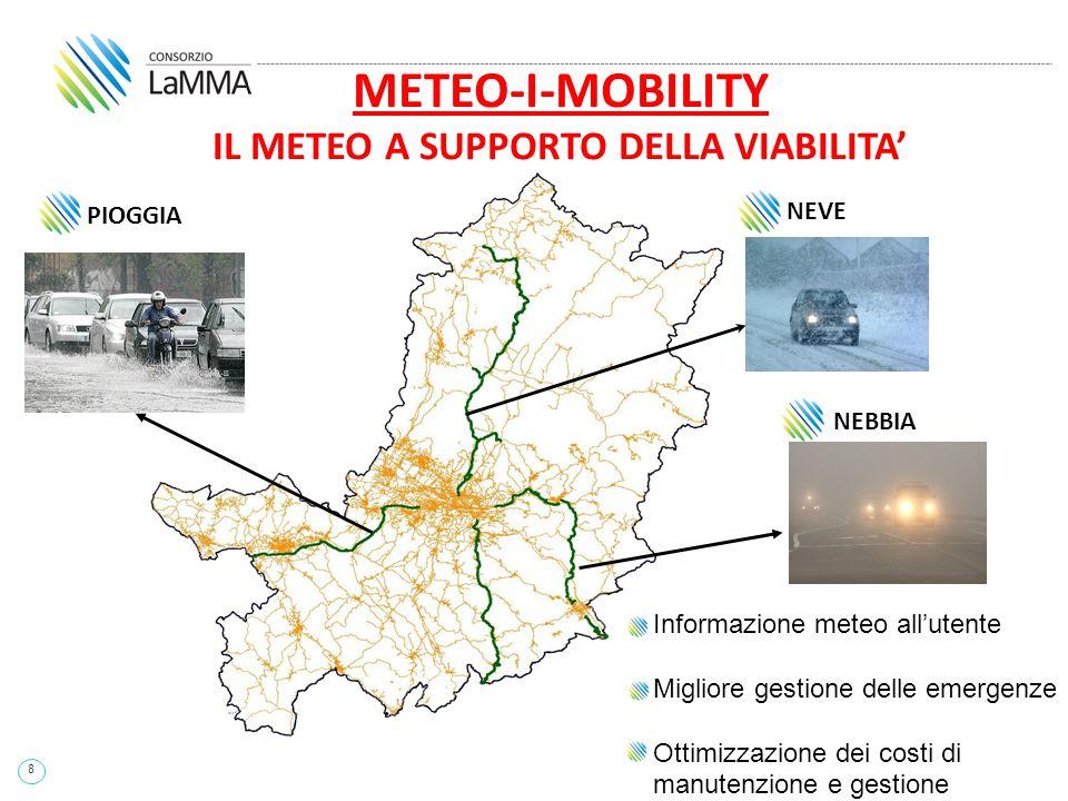 8 PIOGGIA NEVE NEBBIA Informazione meteo all'utente Migliore gestione delle emergenze Ottimizzazione dei costi di manutenzione e gestione METEO-I-MOBI