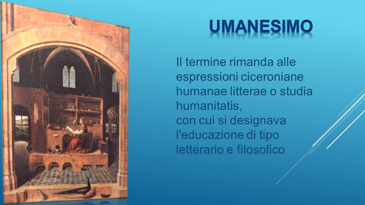 Il termine rimanda alle espressioni ciceroniane humanae litterae o studia humanitatis, con cui si designava l'educazione di tipo letterario e filosofi