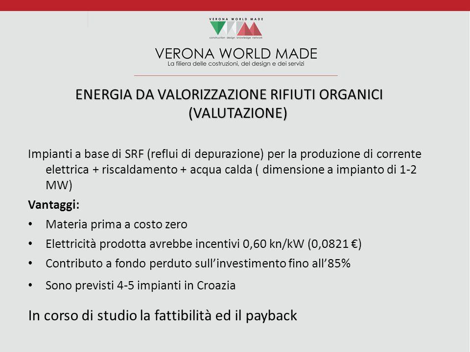ENERGIA DA VALORIZZAZIONE RIFIUTI ORGANICI (VALUTAZIONE) Impianti a base di SRF (reflui di depurazione) per la produzione di corrente elettrica + riscaldamento + acqua calda ( dimensione a impianto di 1-2 MW) Vantaggi: Materia prima a costo zero Elettricità prodotta avrebbe incentivi 0,60 kn/kW (0,0821 €) Contributo a fondo perduto sull'investimento fino all'85% Sono previsti 4-5 impianti in Croazia In corso di studio la fattibilità ed il payback