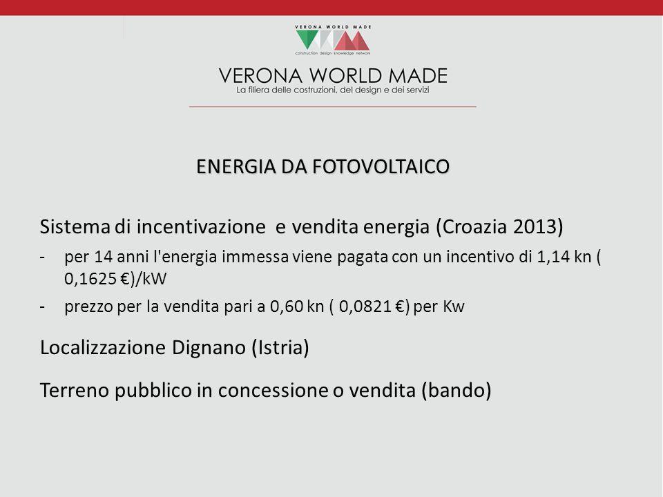 ENERGIA DA FOTOVOLTAICO Sistema di incentivazione e vendita energia (Croazia 2013) -per 14 anni l energia immessa viene pagata con un incentivo di 1,14 kn ( 0,1625 €)/kW -prezzo per la vendita pari a 0,60 kn ( 0,0821 €) per Kw Localizzazione Dignano (Istria) Terreno pubblico in concessione o vendita (bando)