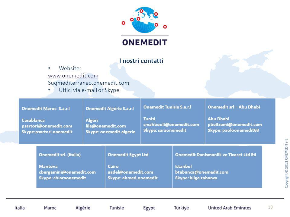 I nostri contatti Website: www.onemedit.com Suqmediterraneo.onemedit.com Uffici via e-mail or Skype 10 Onemedit Maroc S.a.r.l Casablanca psartori@onem