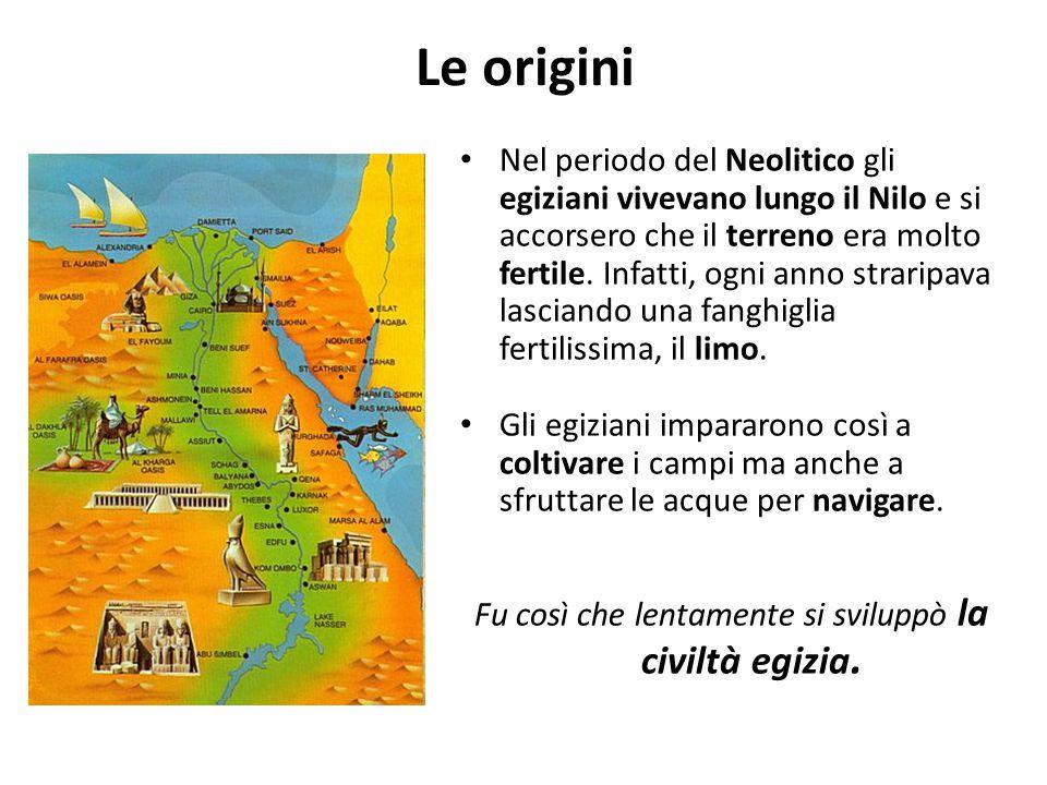 Le origini Nel periodo del Neolitico gli egiziani vivevano lungo il Nilo e si accorsero che il terreno era molto fertile. Infatti, ogni anno straripav
