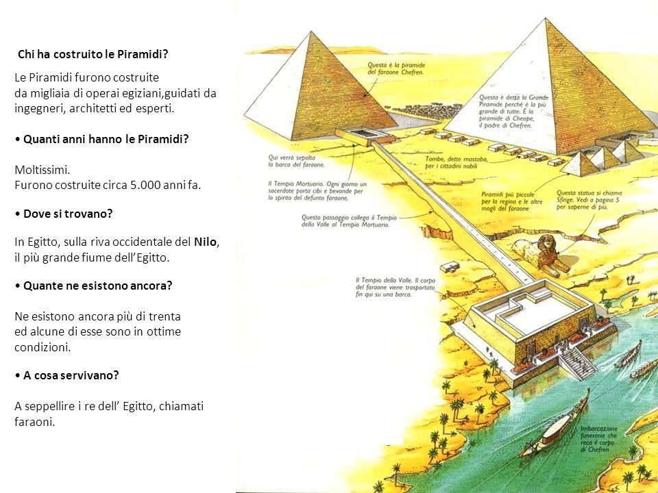 Chi ha costruito le Piramidi? Le Piramidi furono costruite da migliaia di operai egiziani,guidati da ingegneri, architetti ed esperti. Quanti anni han