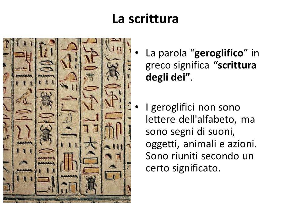 """La scrittura La parola """"geroglifico"""" in greco significa """"scrittura degli dei"""". I geroglifici non sono lettere dell'alfabeto, ma sono segni di suoni, o"""