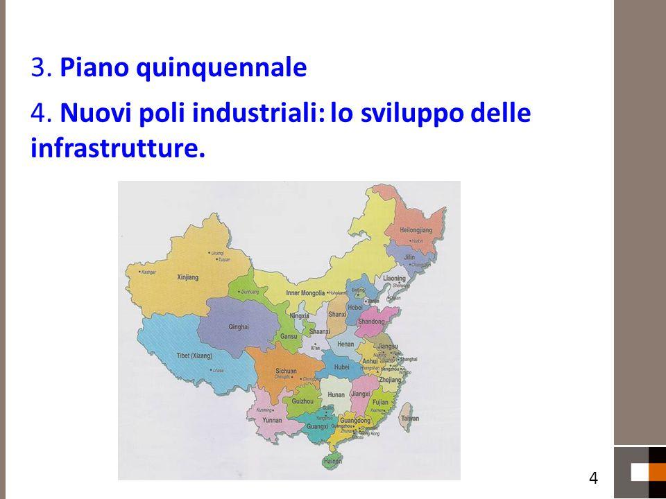 3. Piano quinquennale 4. Nuovi poli industriali: lo sviluppo delle infrastrutture. 4