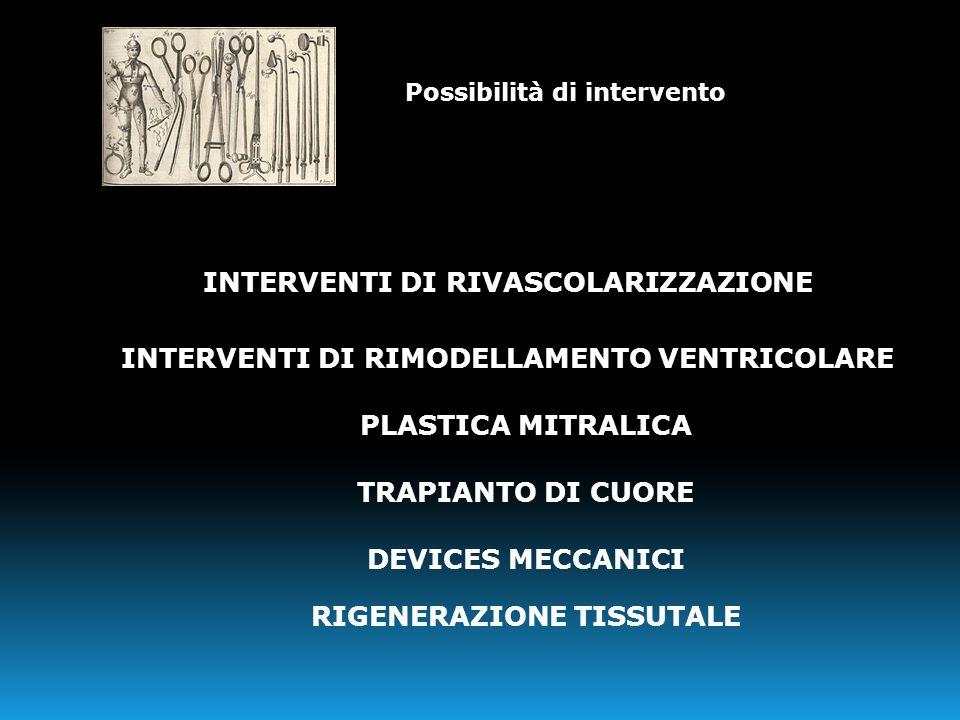 INTERVENTI DI RIVASCOLARIZZAZIONE INTERVENTI DI RIMODELLAMENTO VENTRICOLARE PLASTICA MITRALICA TRAPIANTO DI CUORE DEVICES MECCANICI RIGENERAZIONE TISS