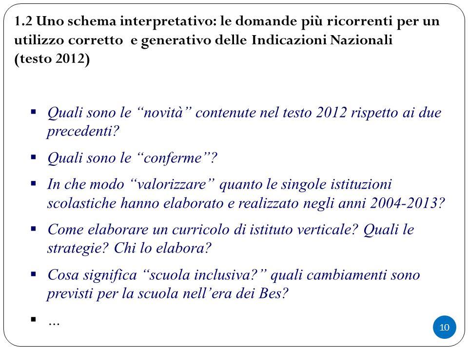 """10  Quali sono le """"novità"""" contenute nel testo 2012 rispetto ai due precedenti?  Quali sono le """"conferme""""?  In che modo """"valorizzare"""" quanto le sin"""