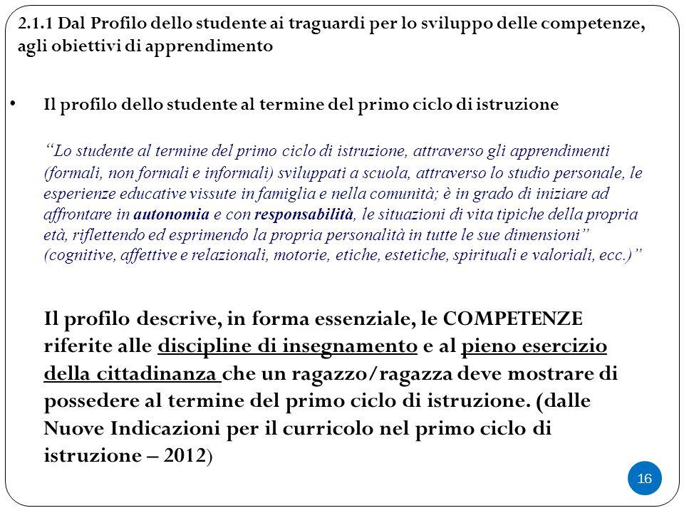 """16 Il profilo dello studente al termine del primo ciclo di istruzione """" Lo studente al termine del primo ciclo di istruzione, attraverso gli apprendim"""