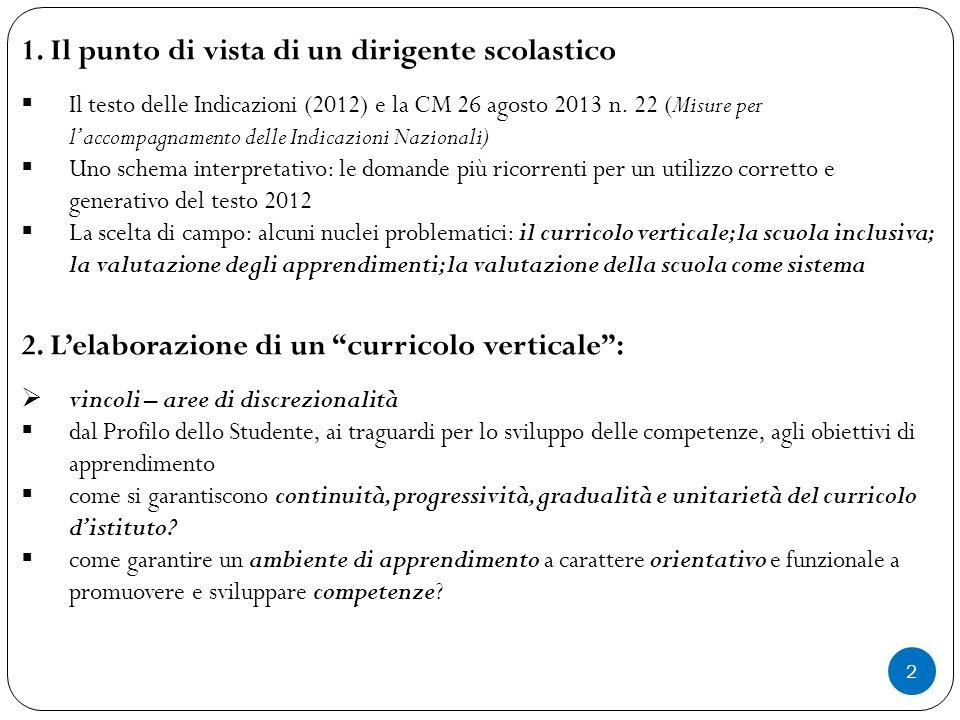 2 1. Il punto di vista di un dirigente scolastico  Il testo delle Indicazioni (2012) e la CM 26 agosto 2013 n. 22 (Misure per l'accompagnamento delle
