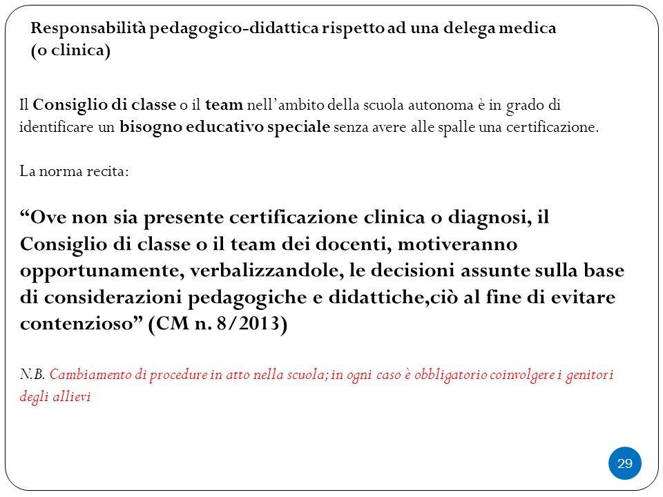 29 Il Consiglio di classe o il team nell'ambito della scuola autonoma è in grado di identificare un bisogno educativo speciale senza avere alle spalle
