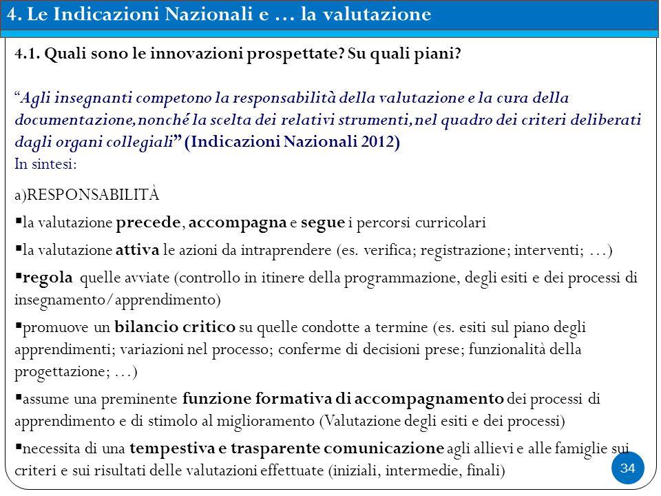 """34 4. Le Indicazioni Nazionali e … la valutazione 4.1. Quali sono le innovazioni prospettate? Su quali piani? """"Agli insegnanti competono la responsabi"""