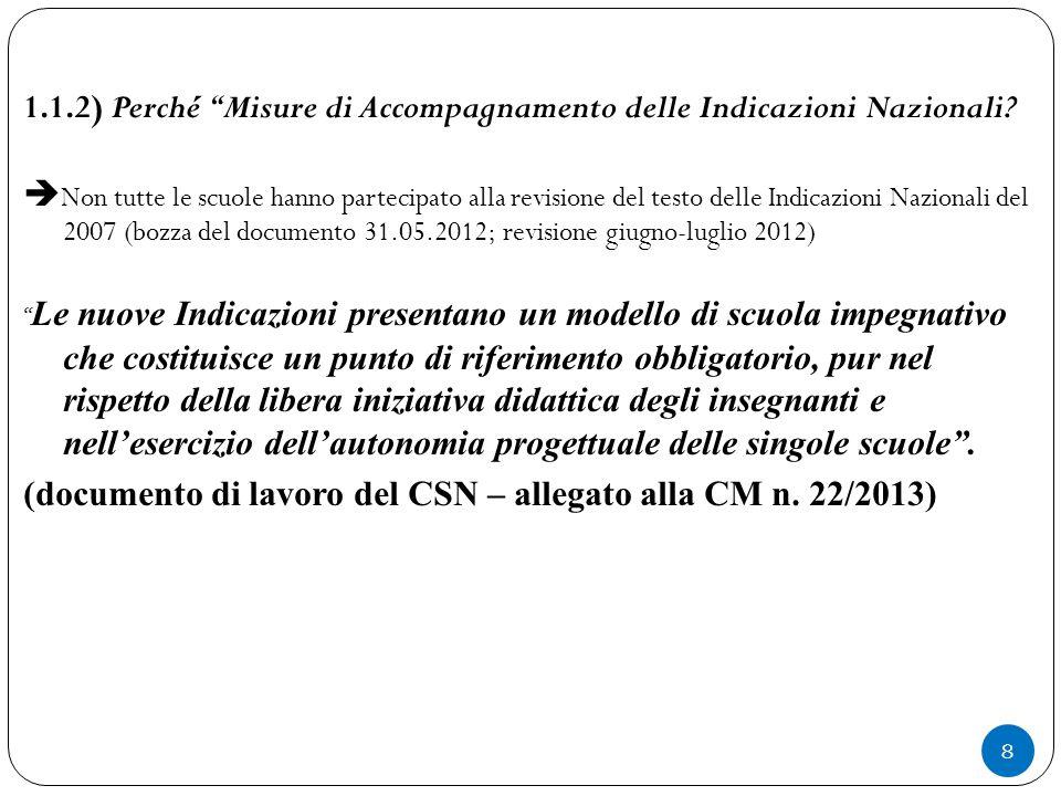 """8 1.1.2) Perché """"Misure di Accompagnamento delle Indicazioni Nazionali?  Non tutte le scuole hanno partecipato alla revisione del testo delle Indicaz"""