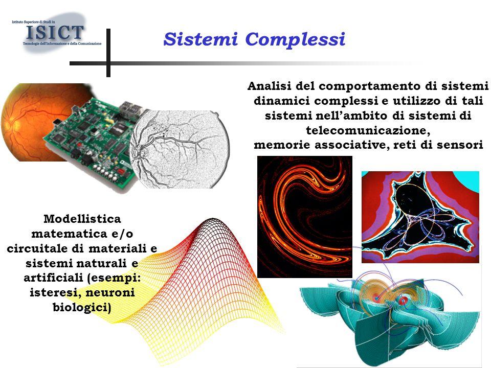 Modellistica matematica e/o circuitale di materiali e sistemi naturali e artificiali (esempi: isteresi, neuroni biologici) Sistemi Complessi Analisi del comportamento di sistemi dinamici complessi e utilizzo di tali sistemi nell'ambito di sistemi di telecomunicazione, memorie associative, reti di sensori