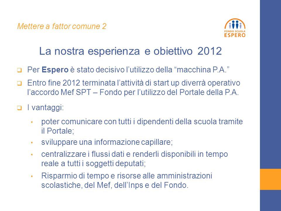  Per Espero è stato decisivo l'utilizzo della macchina P.A.  Entro fine 2012 terminata l'attività di start up diverrà operativo l'accordo Mef SPT – Fondo per l'utilizzo del Portale della P.A.