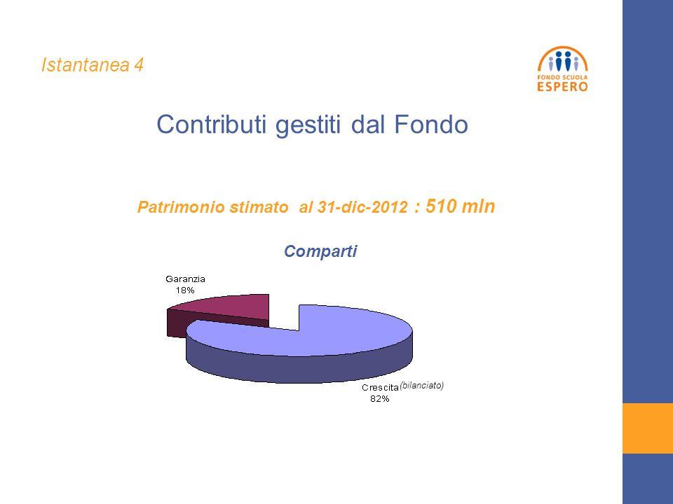 Contributi gestiti dal Fondo Patrimonio stimato al 31-dic-2012 : 510 mln (bilanciato) Istantanea 4 Comparti