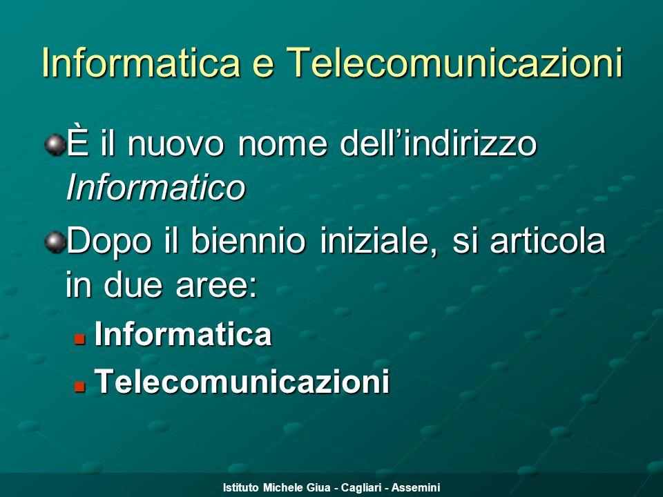 Istituto Michele Giua - Cagliari - Assemini Informatica e Telecomunicazioni È il nuovo nome dell'indirizzo Informatico Dopo il biennio iniziale, si ar