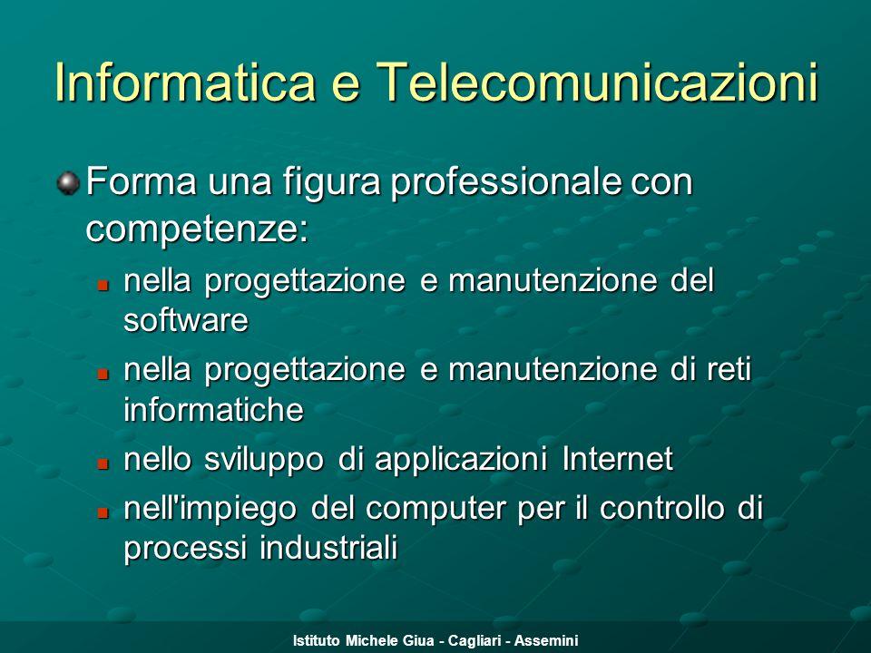 Istituto Michele Giua - Cagliari - Assemini Informatica e Telecomunicazioni Forma una figura professionale con competenze: nella progettazione e manut