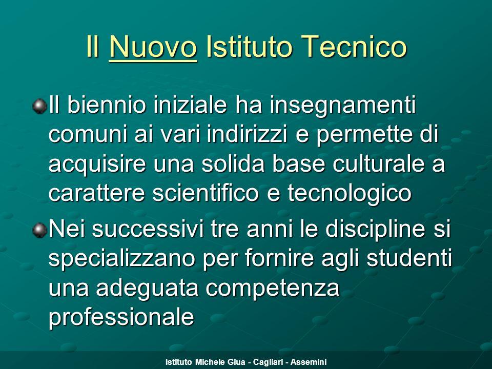 Istituto Michele Giua - Cagliari - Assemini Il Nuovo Istituto Tecnico Il biennio iniziale ha insegnamenti comuni ai vari indirizzi e permette di acqui