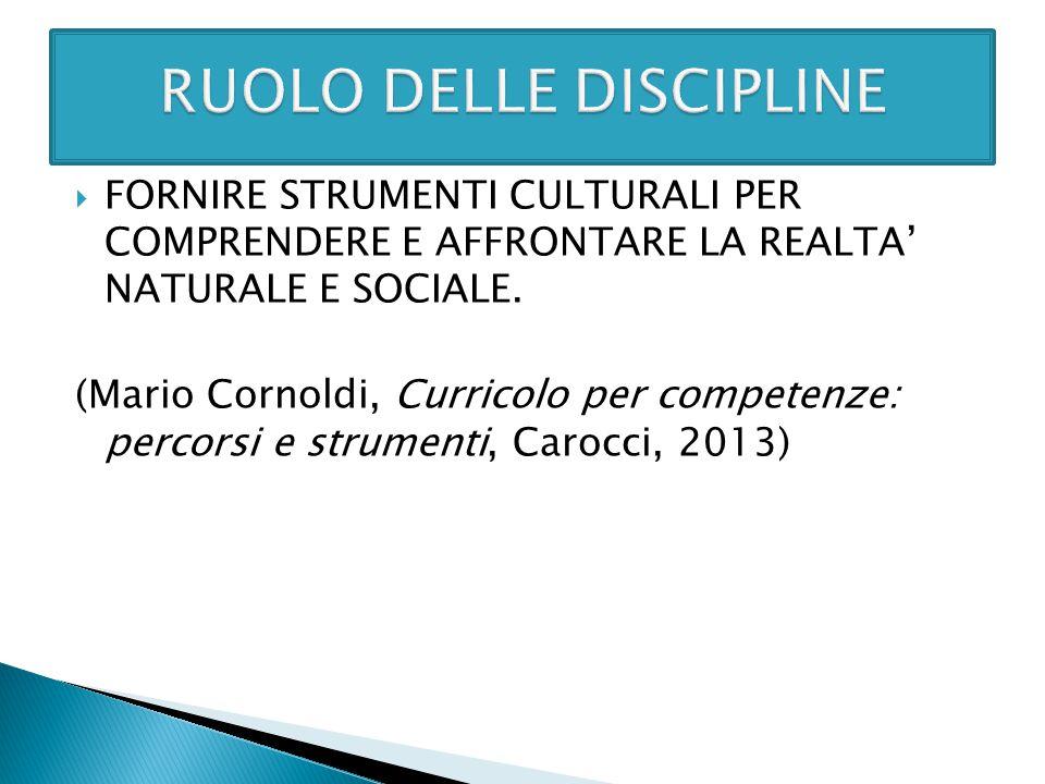  FORNIRE STRUMENTI CULTURALI PER COMPRENDERE E AFFRONTARE LA REALTA' NATURALE E SOCIALE. (Mario Cornoldi, Curricolo per competenze: percorsi e strume